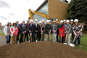 Science faculty and staff break ground for the Henry Science Center.
